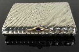 1920th C Russian Silver Card Case With Sapphire