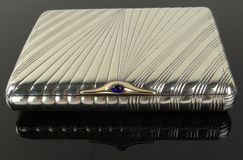 19/20th C Russian Silver Card Case With Sapphire