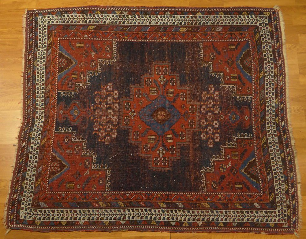 Semi Antique Persian Afshar Rug. Unsigned.  Wear, low