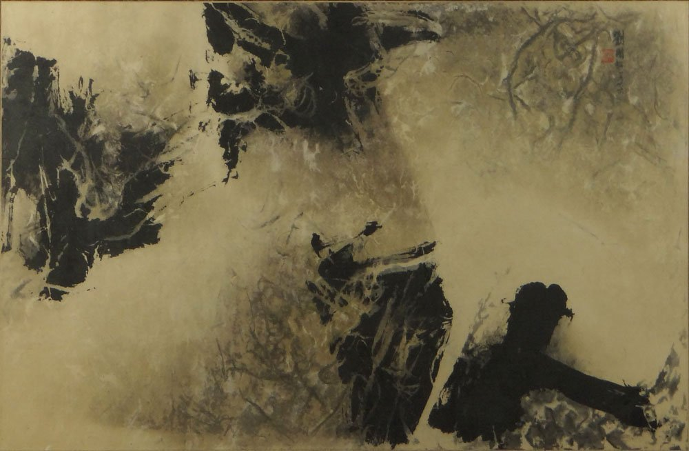 Chinese Ink on Handmade Paper. Red Seal Mark and