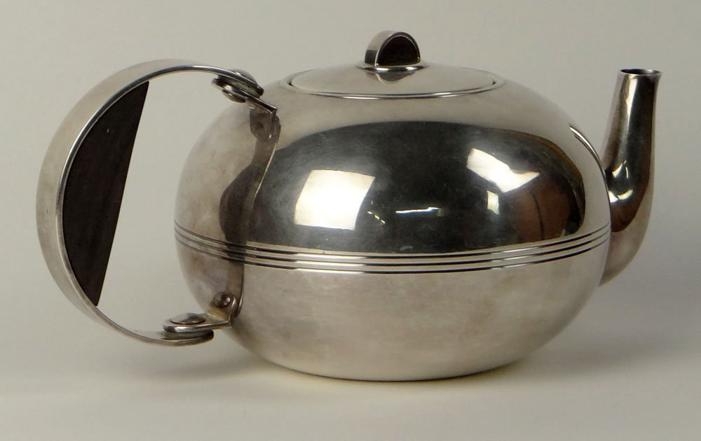 Christofle Silver-Plate Art Deco Tea Pot with Strainer