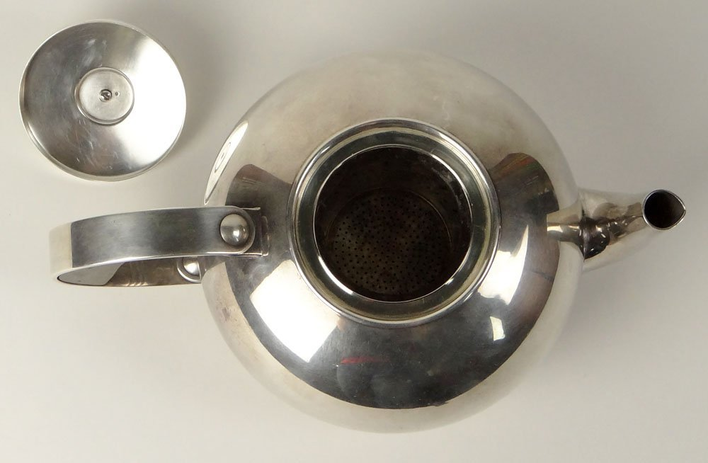 Christofle Silver-Plate Art Deco Tea Pot with Strainer - 2