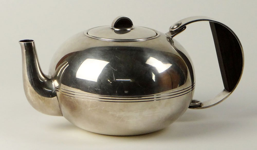 Christofle Silver-Plate Art Deco Tea Pot with Strainer - 3