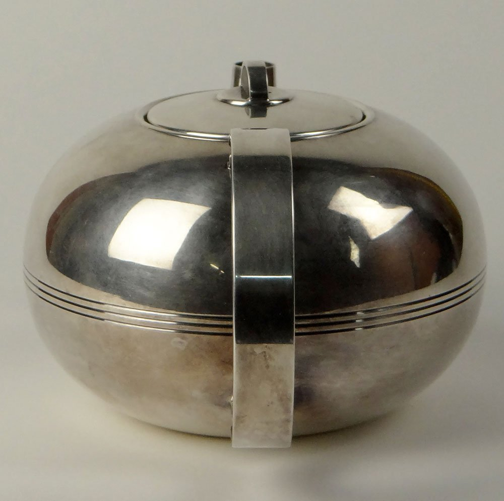Christofle Silver-Plate Art Deco Tea Pot with Strainer - 5