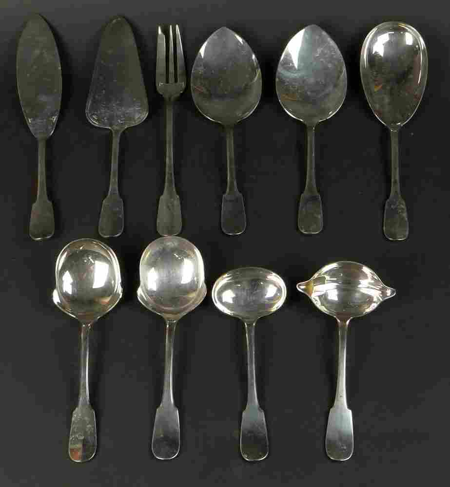 Ten (10) Christofle Silverplate Serving Pieces in the