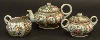 Three (3) Piece Antique Chinese Export Porcelain Rose