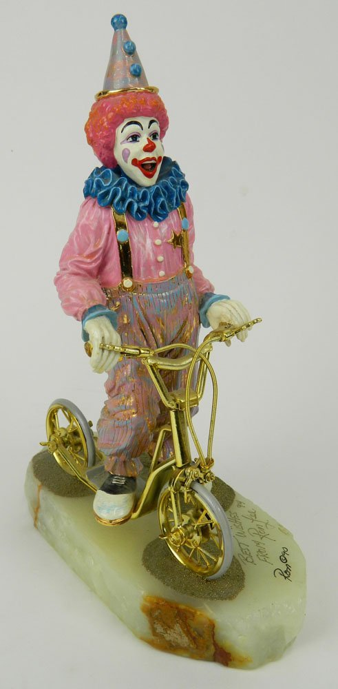 """Circa 1990 Ron Lee Clown Sculpture """"Scooter"""" on Onyx"""