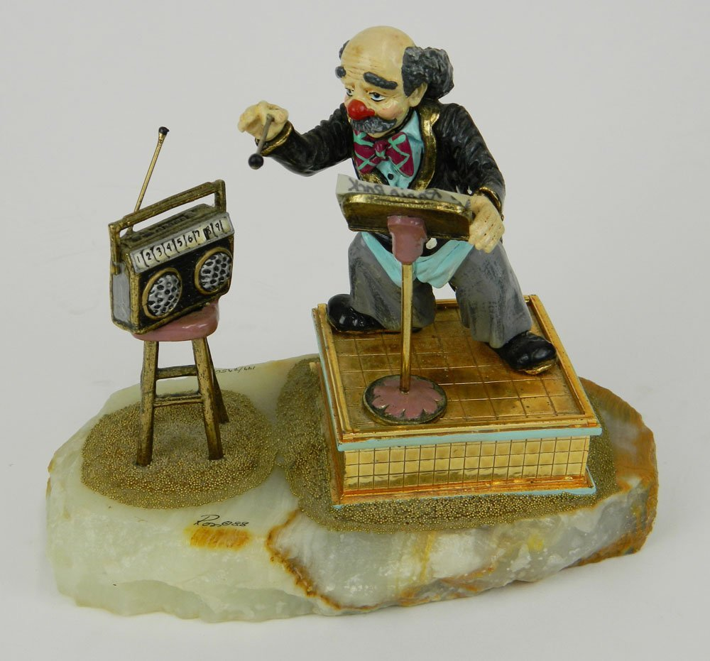 Ron Lee (1988) Clown Directing Music On Onyx Base.