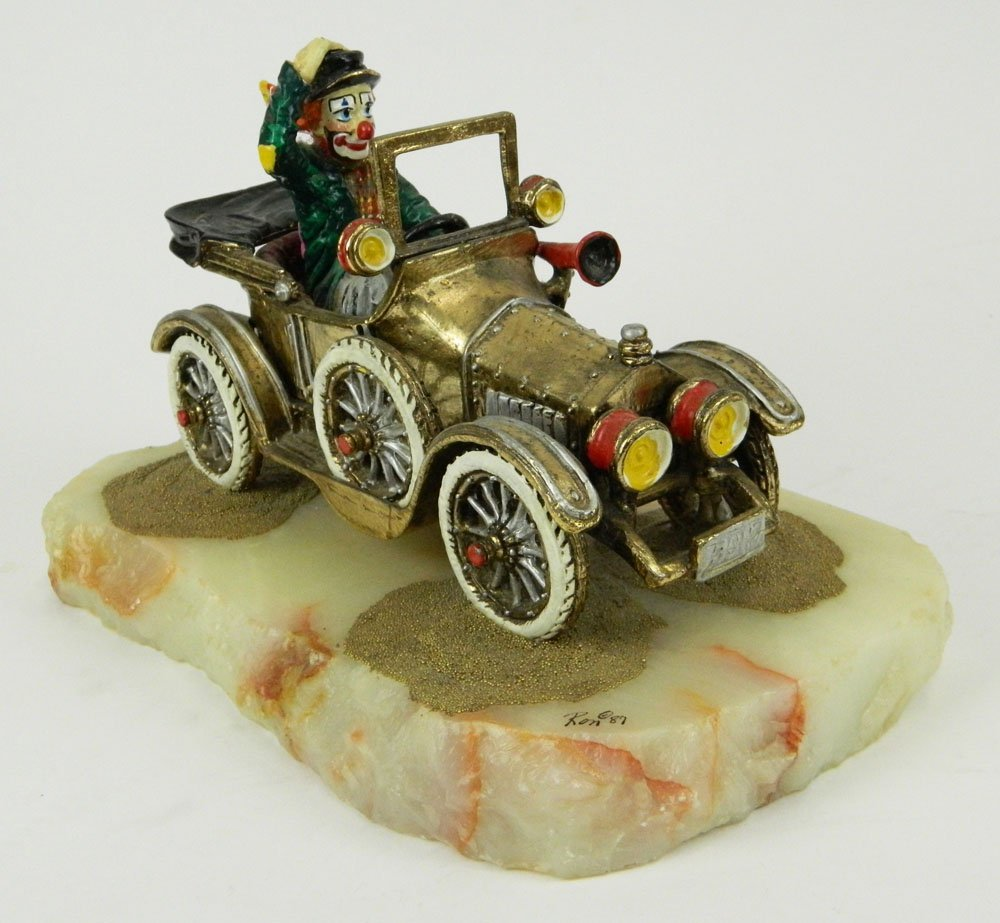 """Circa 1987 Ron Lee """"On the Road Again"""" Clown Sculpture"""