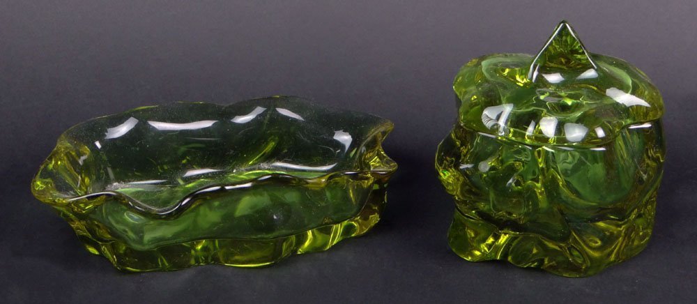 Two (2) Moser Glass Cubist Form Tabletop Items. One (1)