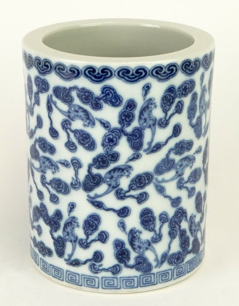 Chinese Blue and White Decorated Porcelain Brush
