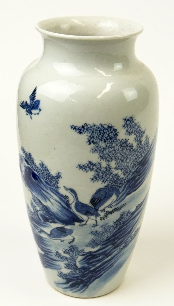 Chinese Blue and White Decorated Small Vase with Ducks