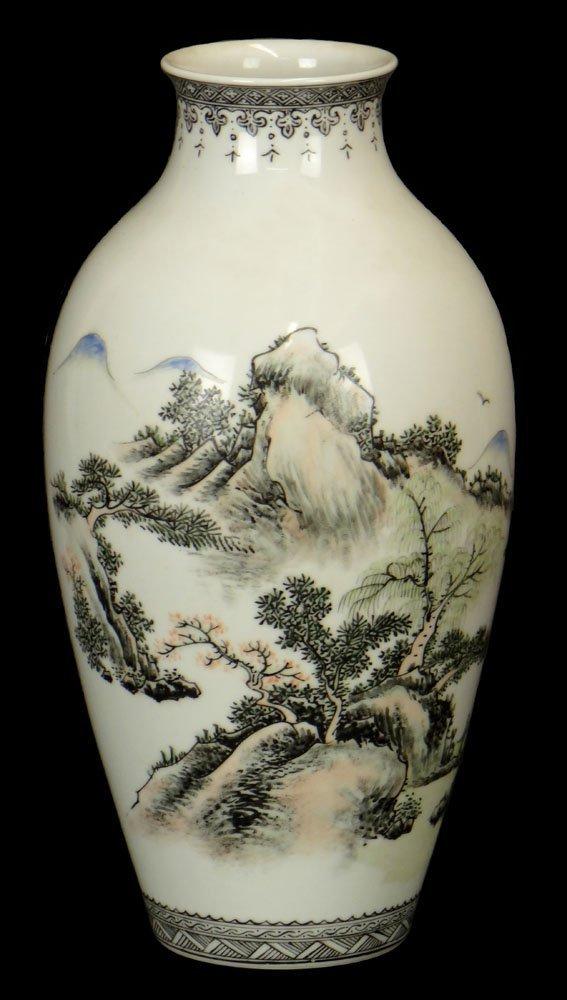 Chinese Enamel Decorated Vase with Calligraphy Poem.