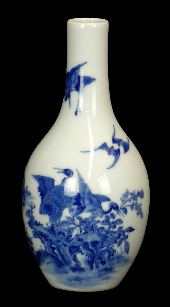 Chinese Blue and White Porcelain Bottle Vase.