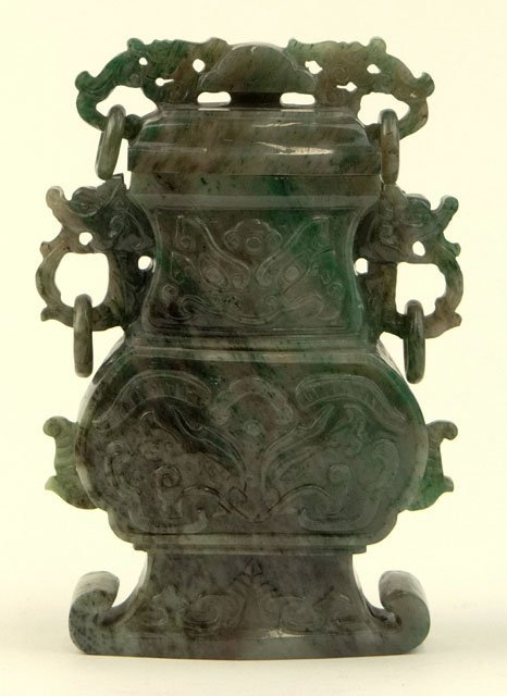 20th Century Chinese Carved Jade Covered Vase with
