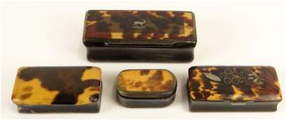 Lot of Four (4) 19th C Tortoise and Horn Snuff Boxes.