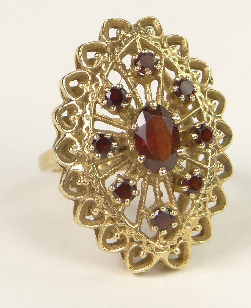 Antique Style 14 Karat Yellow Gold and Garnet Filigree