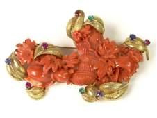 Ladies Vintage Carved Red Coral and 18 Karat Yellow