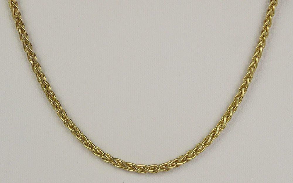 Modern Italian 14 Karat Yellow Gold Link Necklace.