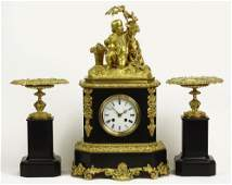 Early 20th Century Figural French Bronze and Onyx Three