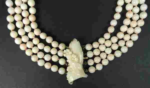 Ladies Vintage Four (4) Strand Angelskin Coral Bead