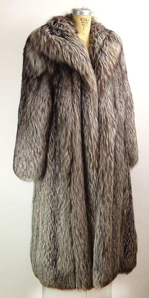 Retro Jerry Sorbara Full Length Silver Fox Fur Coat.