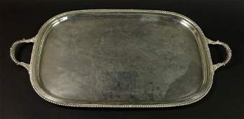 Sterling Silver Large  Heavy Two Handled Serving Tray