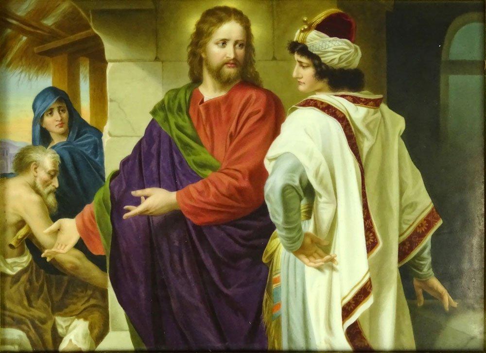 """Circa 1875 KPM Painted Porcelain Plaque """"Christ u. der"""