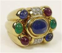 David Webb Cabochon Sapphire Ruby and Emerald Round