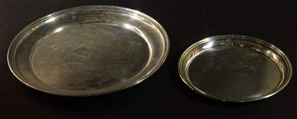 Two 2 Vintage Sterling Silver Round Serving Trays