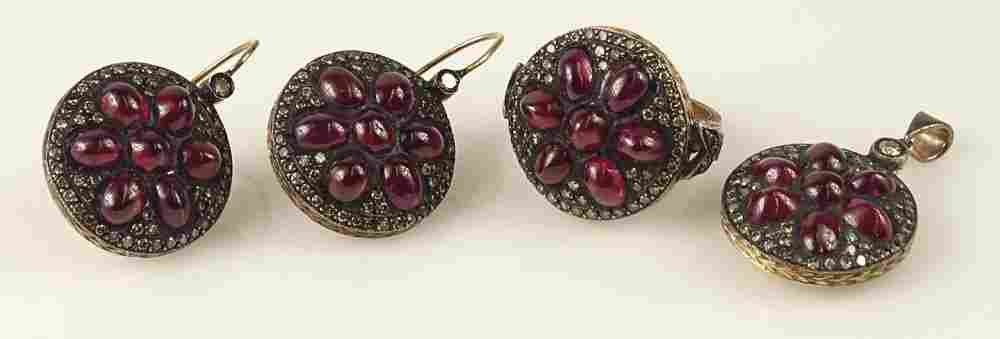 Victorian Design Ruby, Diamond and Rose Gold Three (3)