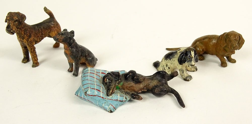 Five (5) Old Cold Painted Vienna Austria Bronze Dogs.