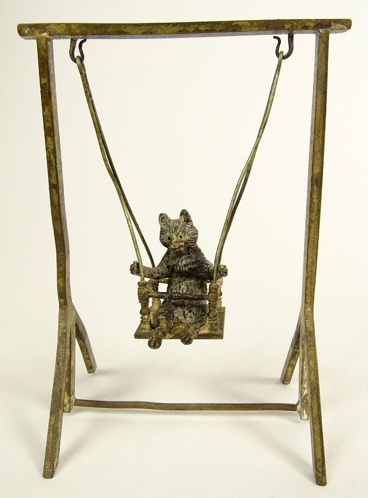 Old Cold Painted Vienna Austria Bronze Cat on a Swing.