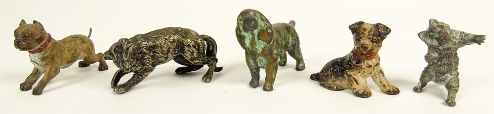 Five (5) Old Cold Painted Vienna Austria Bronze Animals