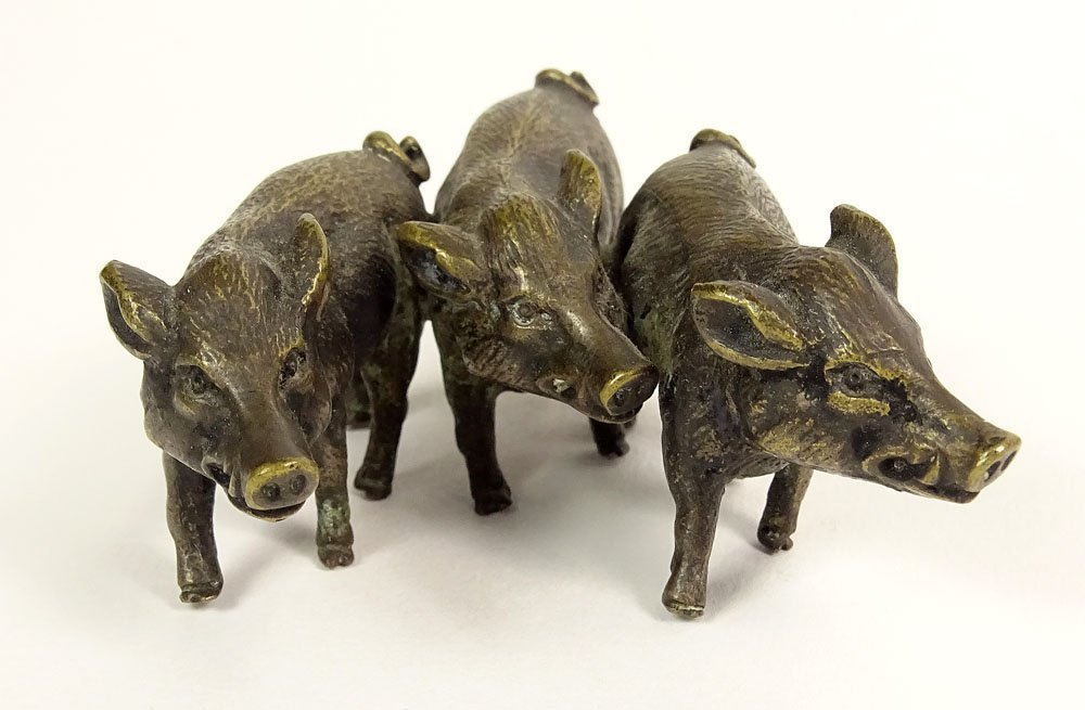 Old Cold Painted Vienna Austria Bronze Three (3) Boar