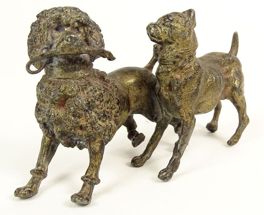 Old Cold Painted Vienna Austria Bronze Two Dog