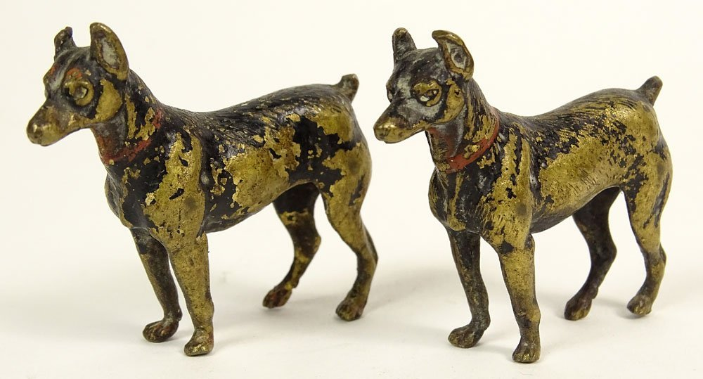Pair Old Cold Painted Vienna Austria Bronze Doberman