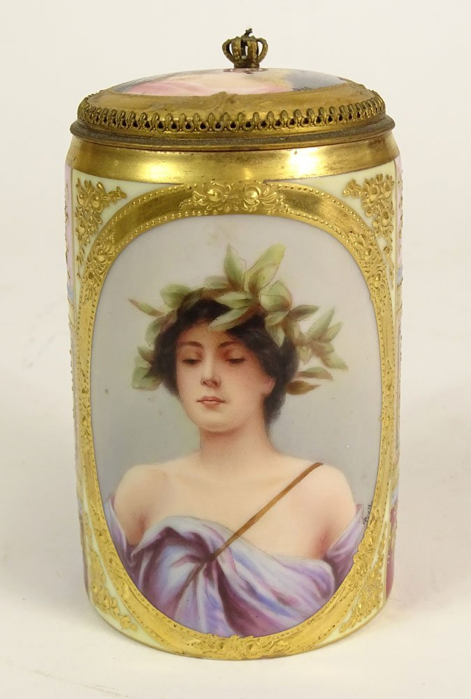 Antique Royal Vienna Handpainted Porcelain Covered