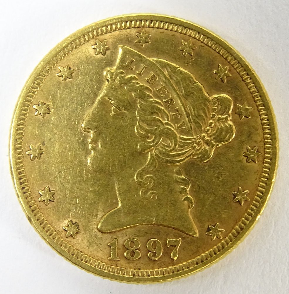 1897 US $5 Liberty Head Eagle Gold Coin. Weighs 5.35
