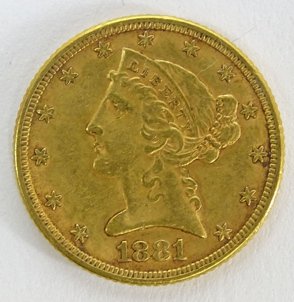 1881 US $5 Liberty Head Eagle Gold Coin. Weighs 5.35