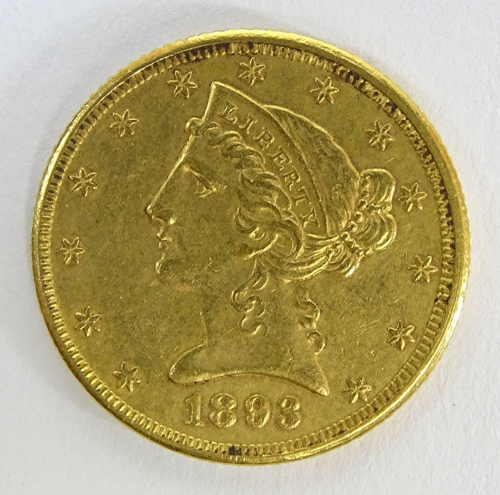 1893 US $5 Liberty Head Eagle Gold Coin. Weighs 5.35