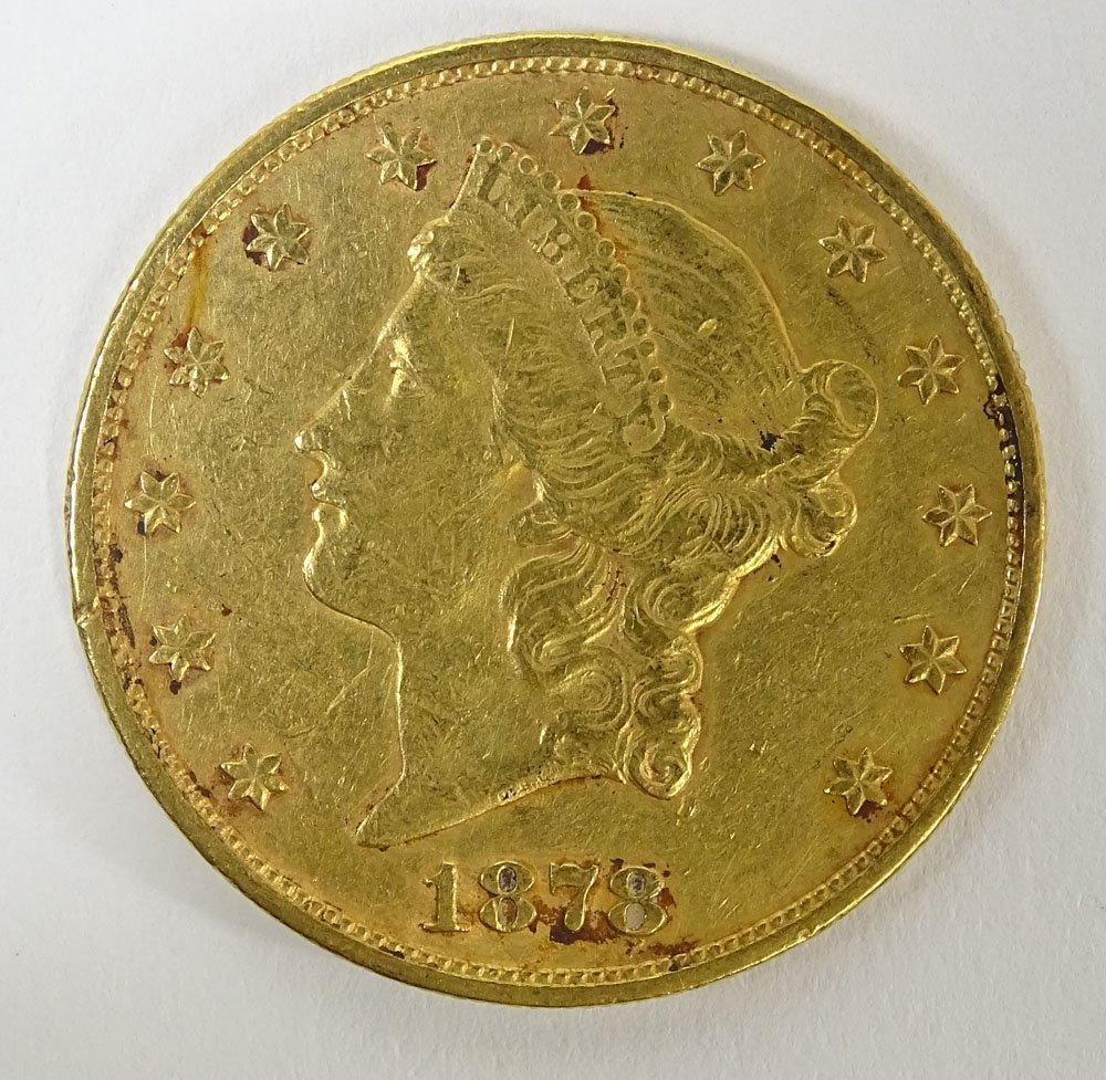 1878 US $20 Liberty Head Double Eagle Gold Coin. Weighs