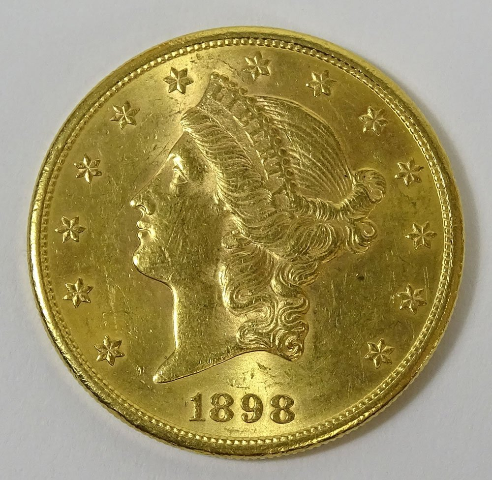 1898 US $20 Liberty Head Double Eagle Gold Coin. Weighs