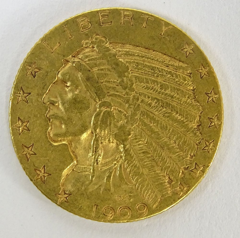 1909 US $5 Indian Head  Gold Coin. Weighs 5.35