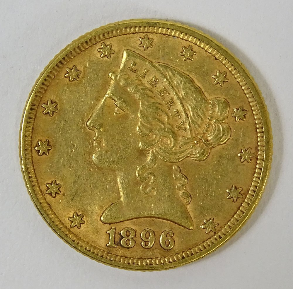 1896 US $5 Liberty Head Gold Coin. Weighs 5.35