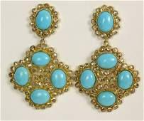 Retro Turquoise, Diamond and 18 Karat Yellow Gold