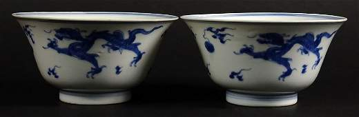 Pair of Chinese Qing Dynasty Kangxi 16621722 Blue