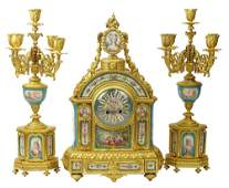 19th Century French Ormolu and Sevres Porcelain Three