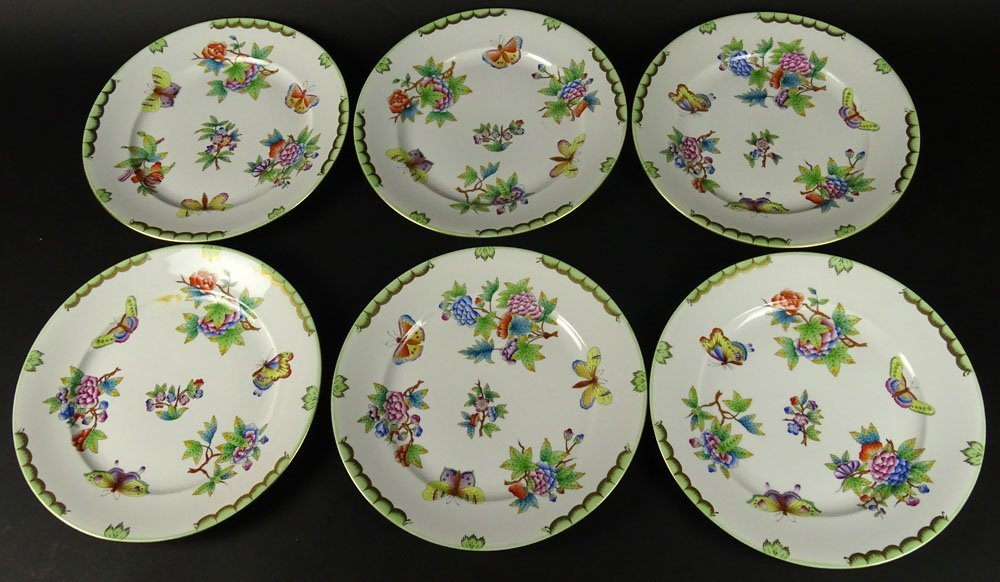 Six (6) Herend Hand Painted Queen Victoria Dinner