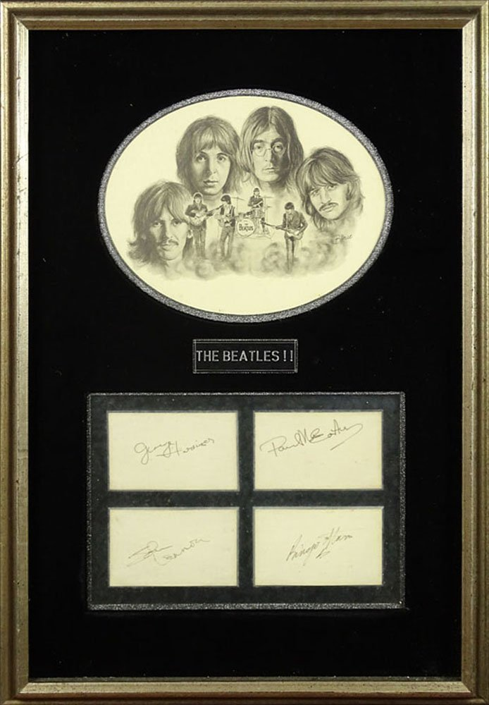 Framed Individual Autographs of the Beatles together